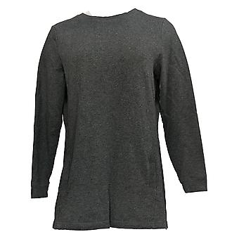 Denim & Co. Women's Top Active Crew Neck Long Sleeve Tunic Gray A308344