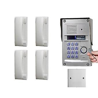 Zhudele kiváló minőségű 4 lakásos kaputelefon rendszer otthoni biztonsági audio ajtó telefon