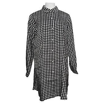 Susan Graver Dames's Sweater Geweven Button-Front Duster Zwart A383161