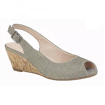 Cipriata Leana señoras cuña tacón sandalias de tacón pewter