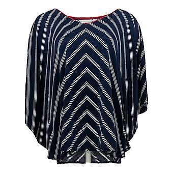 Susan Graver Women's Top Striped Liquid Knit V Neck Scarf Blue A254451