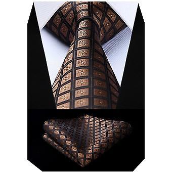 FengChun Herren Karierte Krawatte Taschentuch Jacquard Woven klassisch Hochzeit Krawatten