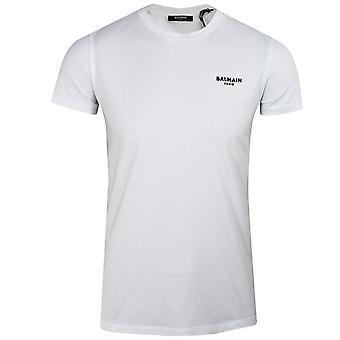 Balmain men's white velvet logo t-shirt