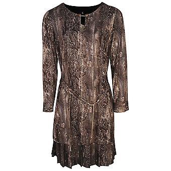 K-design Snake Print Tunic Style Long Sleeve Dress