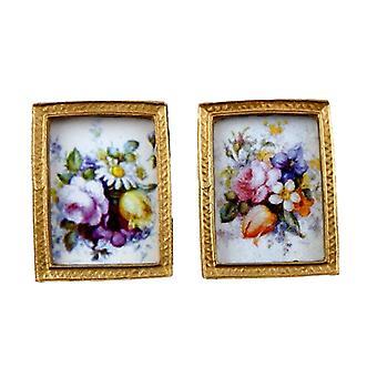 Dockor Hus Miniatyr Tillbehör 2 Blomstermålningar i guldramar