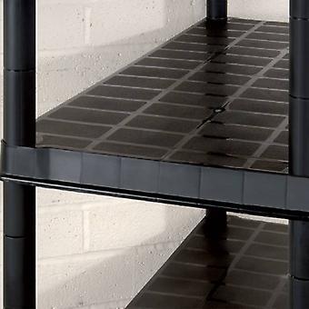 vidaXL opbergplank met 5 verdiepingen Zwart 366x45,7x185 cm kunststof