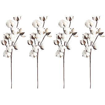 4 stuks katoen tak 10 hoofden natuurlijk gedroogde bloemen kunstmatige decoratieve bloemen wit