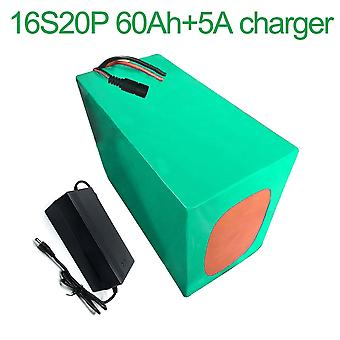 Battery With Charger 5a 60ah 60v Li-ion 18650 Rechargeable Electric Two Three-wheeled Motorcycle Bike Ebike Accept Customization 16s20p 320 * 210 * 14