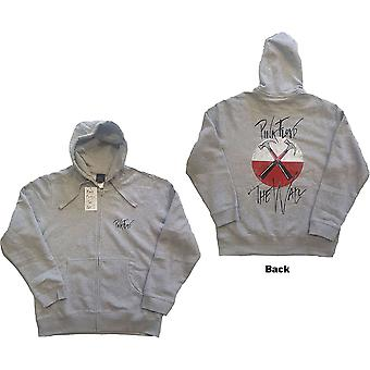 Pink Floyd - The Wall Faded Hammers Logo Unisex Small Zipped Hoodie - Grey