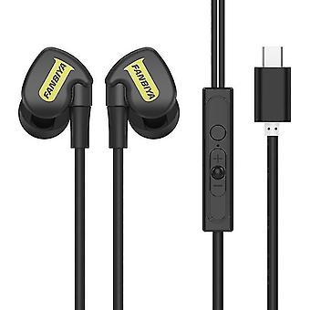 Fanbiya Type-C In-ear bedrade bedieningsoortelefoon HiFi-hoofdtelefoon