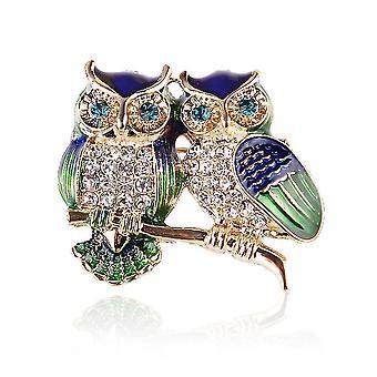 Corsage Owls Ladies Brooch Painted Enamel Brooch Pin
