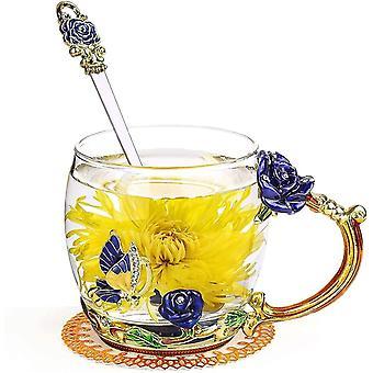Einzigartige Rosenblumenglas Teetasse mit Löffel, Emaille Glas Kaffeetassen mit Blumengriff für
