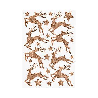 Brillaba cobre ciervo o Reno etiqueta engomada de la hoja para manualidades de Navidad