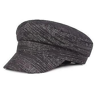 Women Cotton and Linen Flat Top Sun hat Navy Cap, Hat Size:55-60cm(Black)
