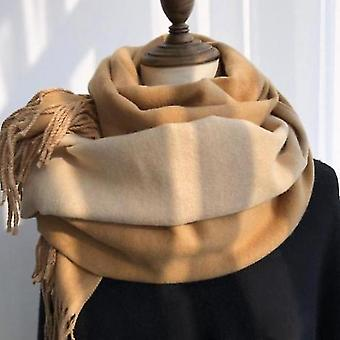Double-sided Solid Color Dual-purpose Bib Mid-length Thick Warm Shawl(Beige)