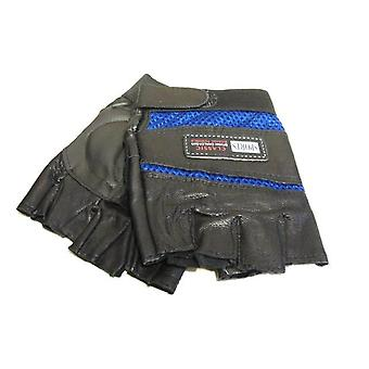Läderhandskar fingerlösa - svart och blå