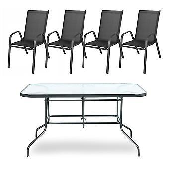 Puutarhapöytä asetettu harmaaksi - 4 tuolia