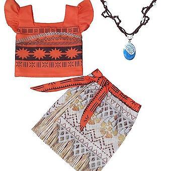 大人の子供コスプレヴァイアナモアナ王女の衣装ドレスネックレスウィッグ女の子ハロウィーンパーティーモアナドレス衣装コスプレ