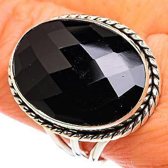 Grote zwarte onyx ring maat 10 (925 sterling zilver) - handgemaakte boho vintage sieraden RING77717