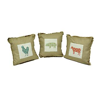 Dalla fattoria alla tavola con frange tela Throw Pillow Set di 3
