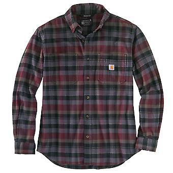חולצת שרוולים ארוכים של Carhartt גברים מחוספס Flex רגוע בכושר באמצע משקל חולצת פלנל שרוול ארוך