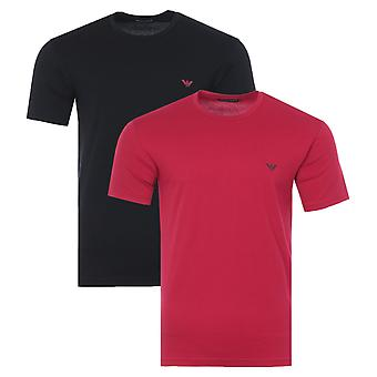Emporio Armani Loungewear 2 Pack Endurance T-Shirts - Black & Cherry