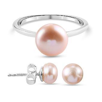 Solitaire, Stud Smykker Sæt til kvinder Pink Ferskvand Pearl i Sølv 13.15ct (J)