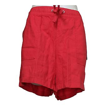 Nautica Women's Shorts Ladies' Linen Blend Pull On Red