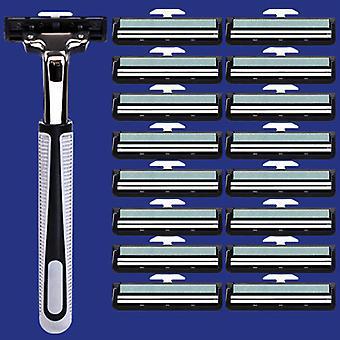 1+18kpl manuaalinen parranajokone - Kaksiteräinen parranajokone