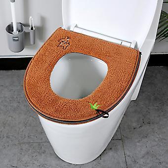 2pcs Weiche dickere Wärmer Plüsch Wc Sitzbezug Pad Kissen mit Griff Reißverschluss