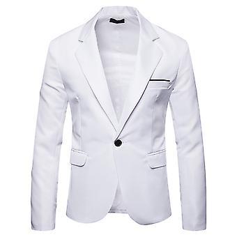 סילקטאה גברים צבע מוצק כפול חריץ כפתור אחד חליפה קלת משקל בלייזר