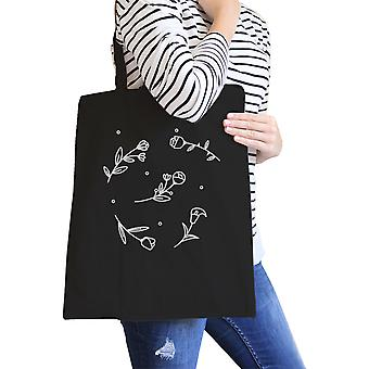Icon Floral Pattern Black Canvas Bag Versatile Tote Bag For Teacher