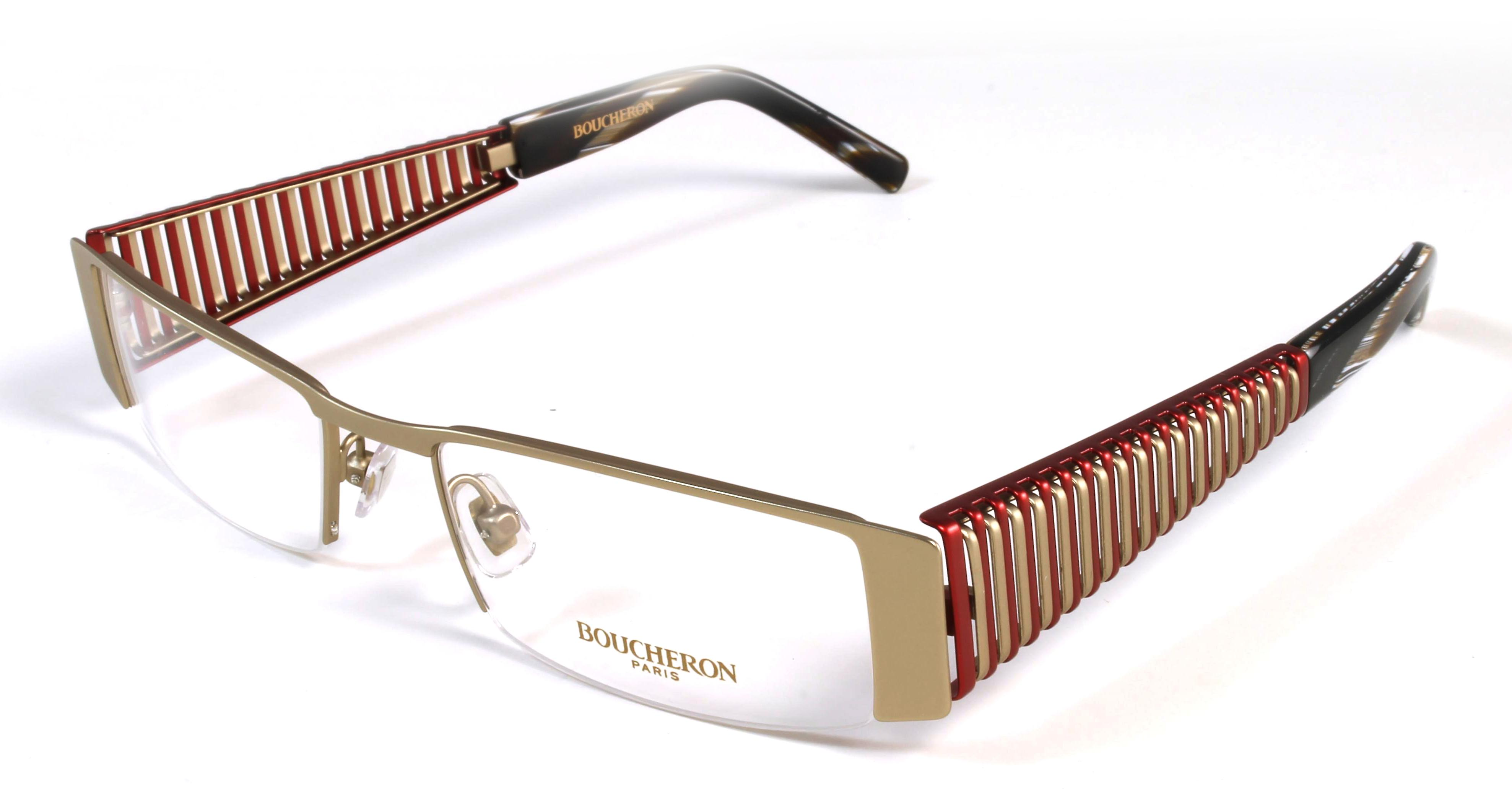 Boucheron Unisex Semi-Rectangle Eyeglasses Red/Gold