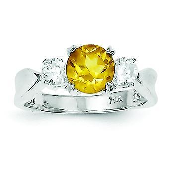 925 sterling zilver Solid gepolijst Citrien Ring-Ring grootte: 6 tot en met 8