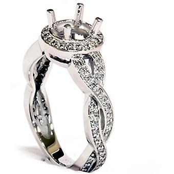 Witgoud 3 / 8ct Fancy Diamond Semi Mount verlovingsring