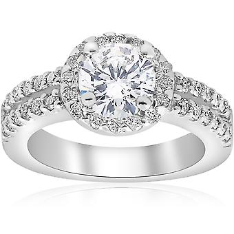 1 1/2ct Halo Diamond Engagement Ring 14K White Gold Double Row