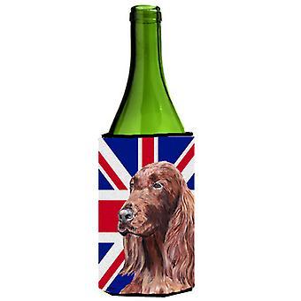 Setter irlandese con isolante di bevanda bottiglia di vino di Engish Union Jack bandiera britannica