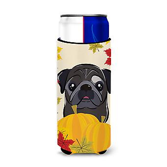 Black Pug Thanksgiving Michelob Ultra beverage Insulator for slim cans