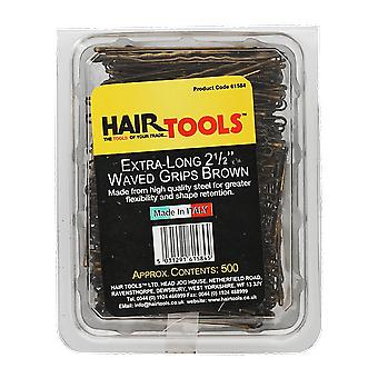 Hairtools Extra Long 2.5 inch Waved Grips Brown