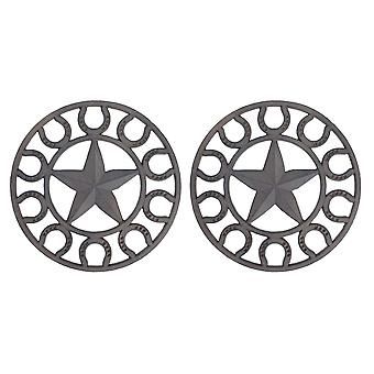 Set of 2 Distressed Finish Cast Iron Star and Horseshoe 10 Inch Table Trivets
