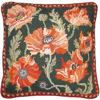 Green Indian Poppies Needlepoint Kit
