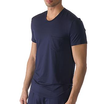 Jefferson color sólido azul pijama Pijama Top Mey 65630-668 hombres