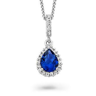 Orphelia Silver 925 Pendant Drop met ketting 42 + 3 Cm Sapphire kleur zirkonium ZH-7226/SA