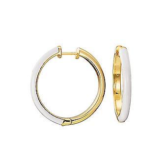 ESPRIT women's Creole earrings stainless steel gold Fancy white ESCO11656J000