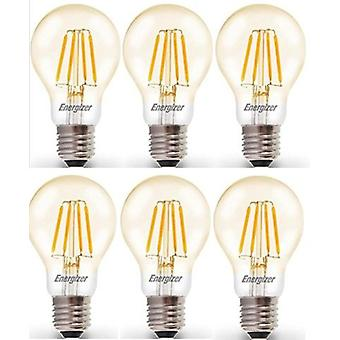 6 X Energizer 6.2W = 60W LED Filament GLS Light Bulb Lamp Vintage ES E27 Clear Edison Screw [Energy Class A+]