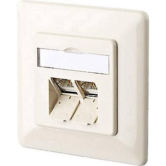 Metz Connect 1307381001-I Network outlet Flush mount Insert with main panel and frame CAT 6 2 ports Oyster white