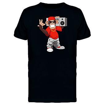 Glückliche Affen mit Boombox T-Shirt Herren-Bild von Shutterstock
