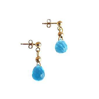Boucles d'oreilles Gemshine Women's Gold plaqué Topaz Quartz Drop Faceted Blue