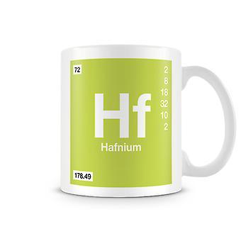 Vetenskaplig tryckt mugg med elementet Symbol 072 Hf - Hafnium