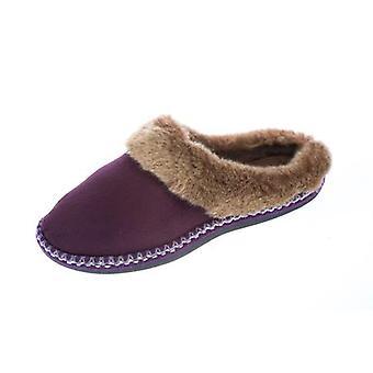 Coolers Womens Faux Fur Lined Microsuede Mule Slippers 8 UK Plum